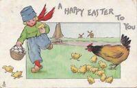 Postcard Easter Tucks Dutch Children Chicks Boy Eggs