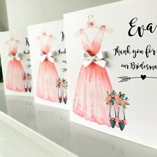 Bridesmaids Maid Of Honour Thank You Dress Card Personalised