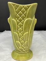 Vintage Mid-Century Modern Shawnee Pottery Green Vase  U.S.A.  9 Inches Tall