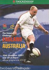 ENGLAND v AUSTRALIA (Rugby Union International 10.11.2001) Programme