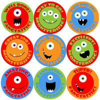 144 Monster Smiles Praise Words 30mm Kids Reward Stickers for Teacher, Parent