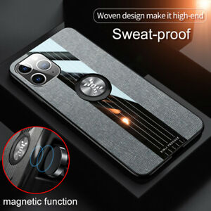For iPhone 11 12 Pro Max XS XR 7 8 Magnetic Finger Ring Case Cloth Fabric Cover
