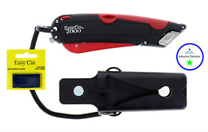 Easy Cut 2000 RED Safety Box Cutter Knife Easycut & PACK 0F 10 BLADES BEST DEAL