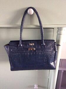 "Stunning ""OSPREY"" Navy Mock Croc Leather Over Shoulder Bag In Very Good Cond..."