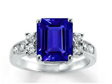 Sapphire Cz Solitaire Ring Sterling Silver Radiant Simulated Blue