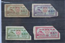 China 4 cloth ration coupons: Tibet Xizang bilingual banknote money  rare 1963!!