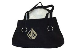Vintage Volcom Casual Hand bag Purse  Black Suede  2 compartment