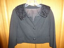 True Vtg 1950's 50's Black Cropped Bolero Wool Faux Fur Lamb Women's Jacket
