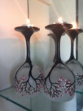 Set Of 2 Hand painted Cherry Blossom Glass Candle Holder dinner light & gift