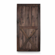 "42"" x 84"" Lower X Sliding Barn Door Unfinished Pine Wood Panelled Slab, Espresso"