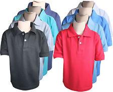 Boys Kids Polo T-shirts Plain Casual Wear Short Sleeve Soft Tops Tees Yr 5 to 13