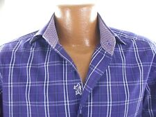 BUGATCHI Mens M Purple Plaid Flip Cuff Long Sleeve Button Front Cotton Shirt
