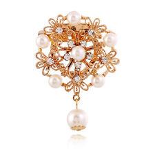 """2.5"""" Flor De Filigrana De Oro Grande con Broche Rhinestone claro perla y Crema"""