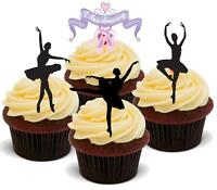 NOVELTY BALLET DANCER MIX 12 STAND UP Edible Wafer Paper Cake Toppers Silhouette