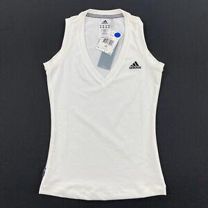 Adidas Womens Sleeveless Athletic Shirt Top White Size XS
