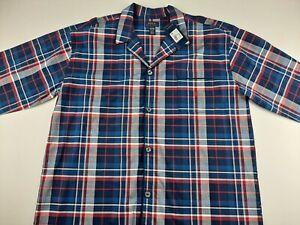 NEW Polo Ralph Lauren Sleepwear Men XL Navy Red Plaid Pajama Shirt Long Sleeve