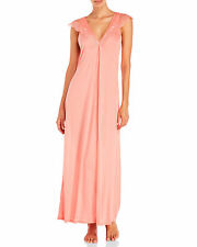 La Perla S Long Jersey Knit Negligee Nightgown Coral Pink V-Neck New
