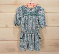 Oshkosh Genuine Kids Girl's Sz 2T 3/4 Sleeve Floral Dress Pockets Green Floral