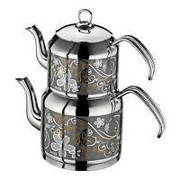 Turkish Double Tea Pot Set Inter Sahra Stainless Steel Teapot