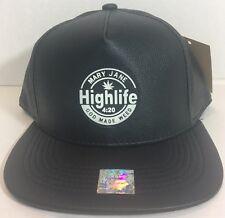 Marijuana Hat Black Leather Cap Snapback Flat Bill God Made Weed Had Highlife