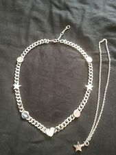 NEW GUESS RHODIUM PLATED ( 17 INCH) HEART & STAR CHAIN - NO BOX INCLUDED