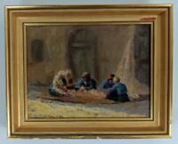 E B MACDONALD Oil Painting CARPET WEAVERS IN STREET c1920 IMPRESSIONIST