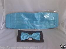 Turquoise BLUE Polyester Cummerbund & Bow Tie Set>P&P 2UK>1st Class > 60 Colours