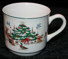 Ming Pao Woodland Christmas Cup China Mug Tea Coffee Eggnog Woods Animals