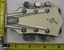 GUITAR METAL BELT BUCKLE WHITE HEADSTOCK ROCK STAR HEAD STOCK NEW B439