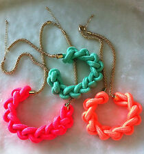 Fashion Style Cotton Knot Rope Gold-plated Metal Chain Choker Neon Necklace