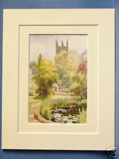 BOTANIC GARDENS MAGDALEN TOWER OXFORD ANTIQUE MOUNTED