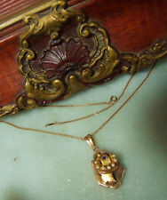 """Antique Victorian Rose 14k Gold Seed Pearl Sapphire Rare Locket 18.3"""" Necklace"""