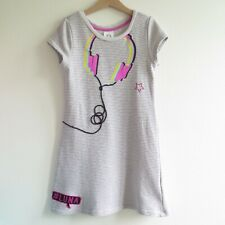 Disney SOY LUNA GREY STRIPED SHORT SLEEVE DRESS Size 7/8 128 cm Headphones