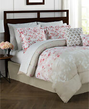New Jessica Sanders Repose 12 Piece KING Comforter Set CORAL / NATURAL Bedding