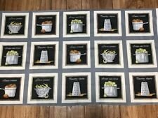 COOKWARE & VEGGIE PATCH Quilters  Cotton Fabric Squares Panel sewing craft