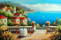 Italian Home Beach Patio Flowers Table For Two 24X36 Oil Painting STRETCHED