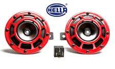 Genuine Hella Red grill Signature Supertone Horn Set12vpair Relay&Wiring car,suv
