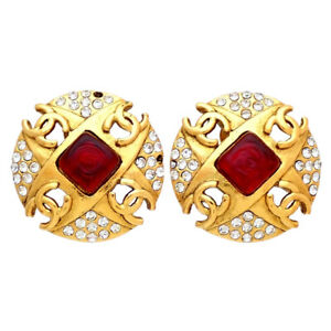 Authentic Vintage Chanel earrings CC logo red stone rhinestone round #ea3081