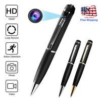 Mini Hidden Spy Camera Pen HD 1080P Video Recorder Clip On Body Portable Cam TR