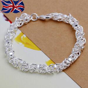 """925 Sterling Silver Bracelet Chain Link Charm Chunky 8"""" UK Seller"""
