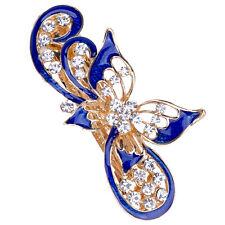 Blue Fashion Women's Rhinestone Metal Butterfly Hair Pin Barrette Hairpin Clip