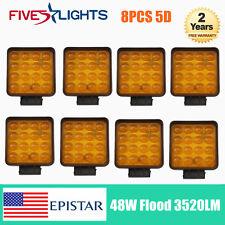 8X 48W 5D LED Work Light Flood Yellow Amber Beam Driving Car Boat Ford Wrangler