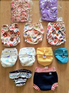 Large Bundle of 11 Cloth Reusable Pocket Nappies One Size/Wrap MIO/Swim Nappies