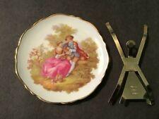 """Limoges France Vintage 3"""" Porcelain Aristique F.M. Plate Victorian Scene"""