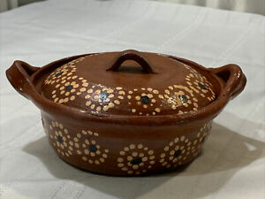 Mexican Pottery Casserole Dish ( Casuela) Bean Pot With Lid And Side Handles