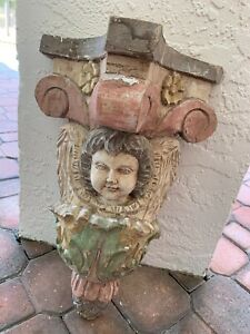 Old Hand Carved Wood Gothic Putti Face Ornate Wall Sconce Shelf