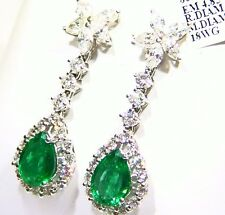 10.45ct 18ct Oro Natural Corte Emerald Diamante Blanco Vintage Compromiso