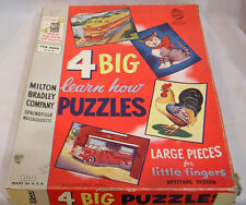 Vintage Milton Bradley 4 Big Puzzles in OB Train Fire Truck Rooster Cat 1957