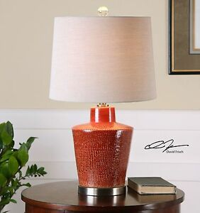 Textured Red Ceramic Table Lamp Large | Asian Oriental