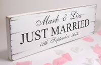 Personalised -  Just Married 02 - Free Standing Wedding Sign - Shabby but Chic